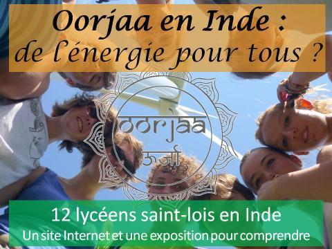 12 jeunes de Saint-Lô au pied de l`éolienne de Gavray